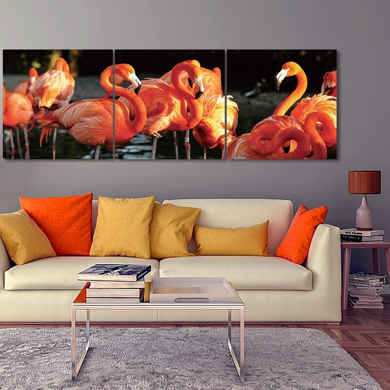 Flamingo (3 Panels)  - Modern Luxury Wall art Printed on Acrylic Glass - Frameless and Ready to Hang