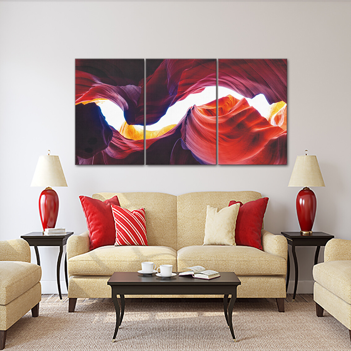 Antelope Canyon (3 Panels) | Printed on Frameless Acrylic Glass - Modern Luxury Acrylic Glass Wall art - Ready to Hang