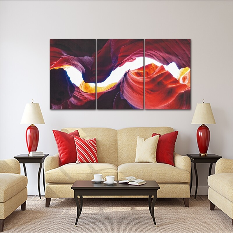 Antelope Canyon (3 Panels) | Printed on Frameless Acrylic Glass | With Aluminium Backing Frame Ready to Hang