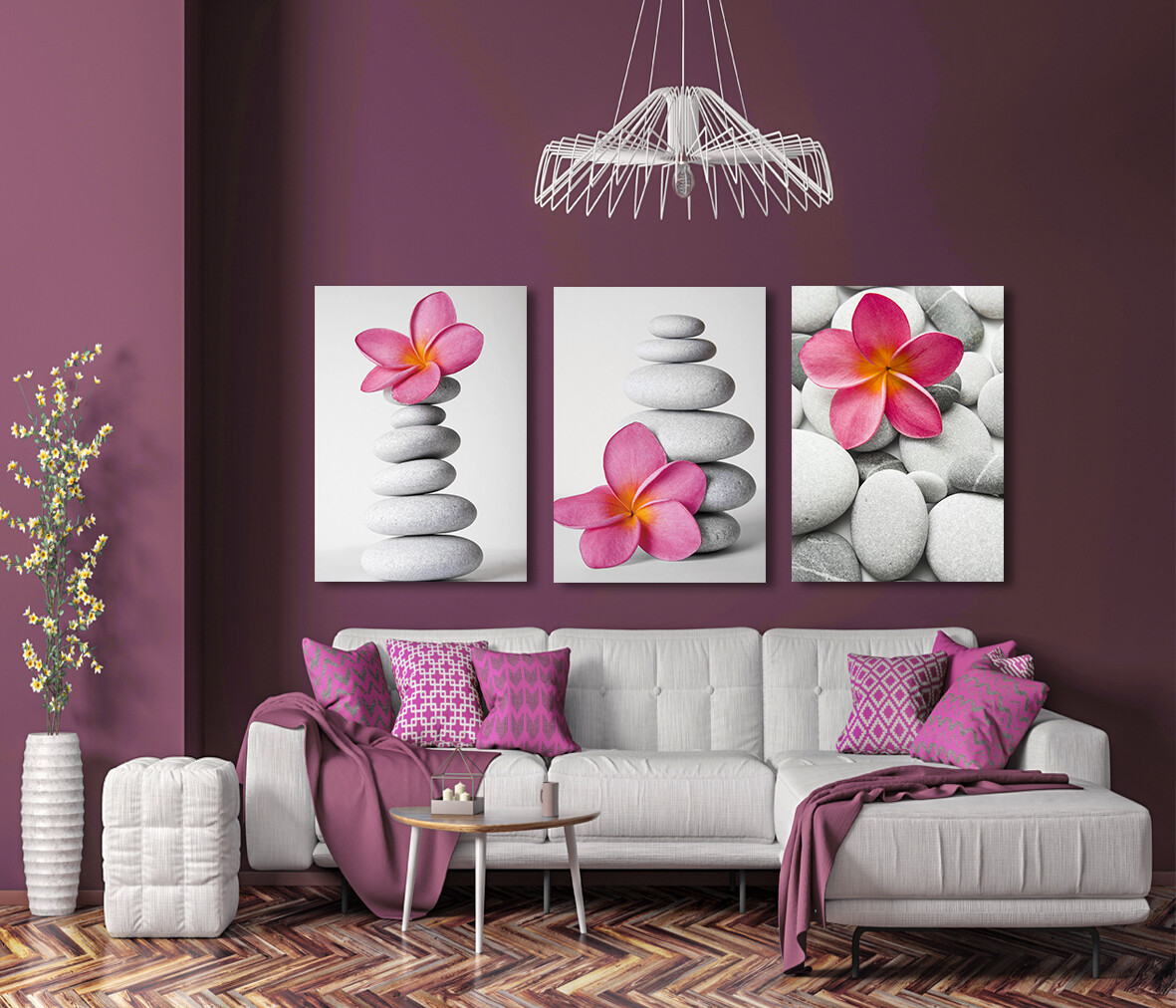Pink Frangipani  - Modern Luxury Wall art Printed on Acrylic Glass - Frameless and Ready to Hang