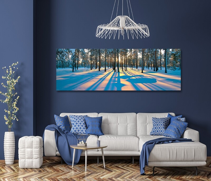 Sunset in a winter forest  - Modern Luxury Wall art Printed on Acrylic Glass - Frameless and Ready to Hang