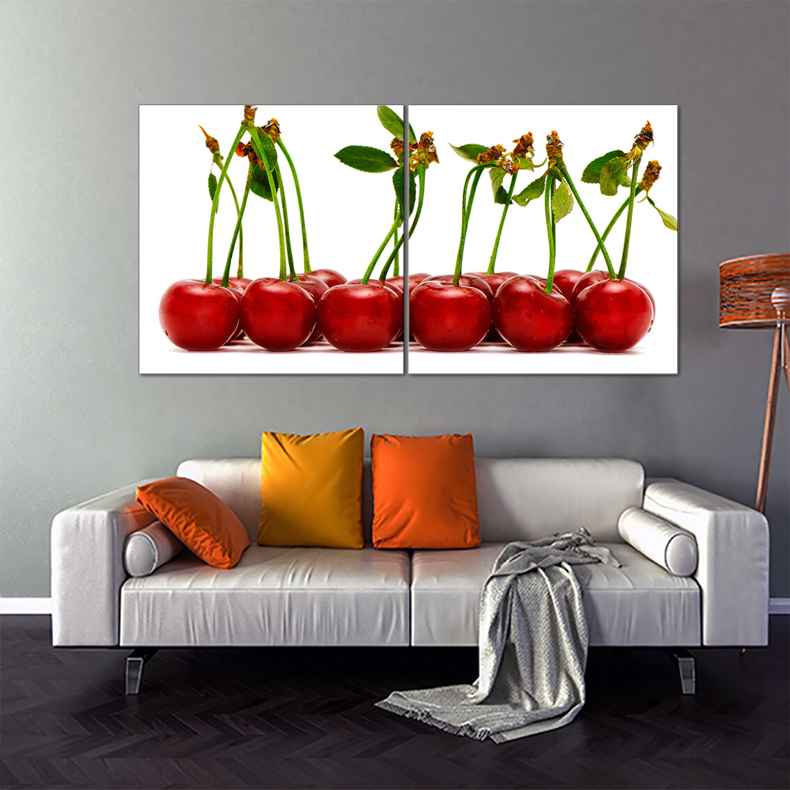 Cherry Row  - Modern Luxury Wall art Printed on Acrylic Glass - Frameless and Ready to Hang