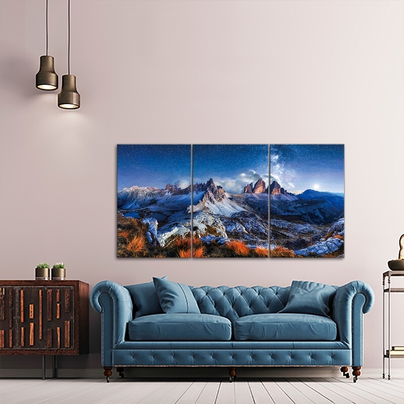 Swiss Alps (3 Panels Large)  - Modern Luxury Wall art Printed on Acrylic Glass - Frameless and Ready to Hang