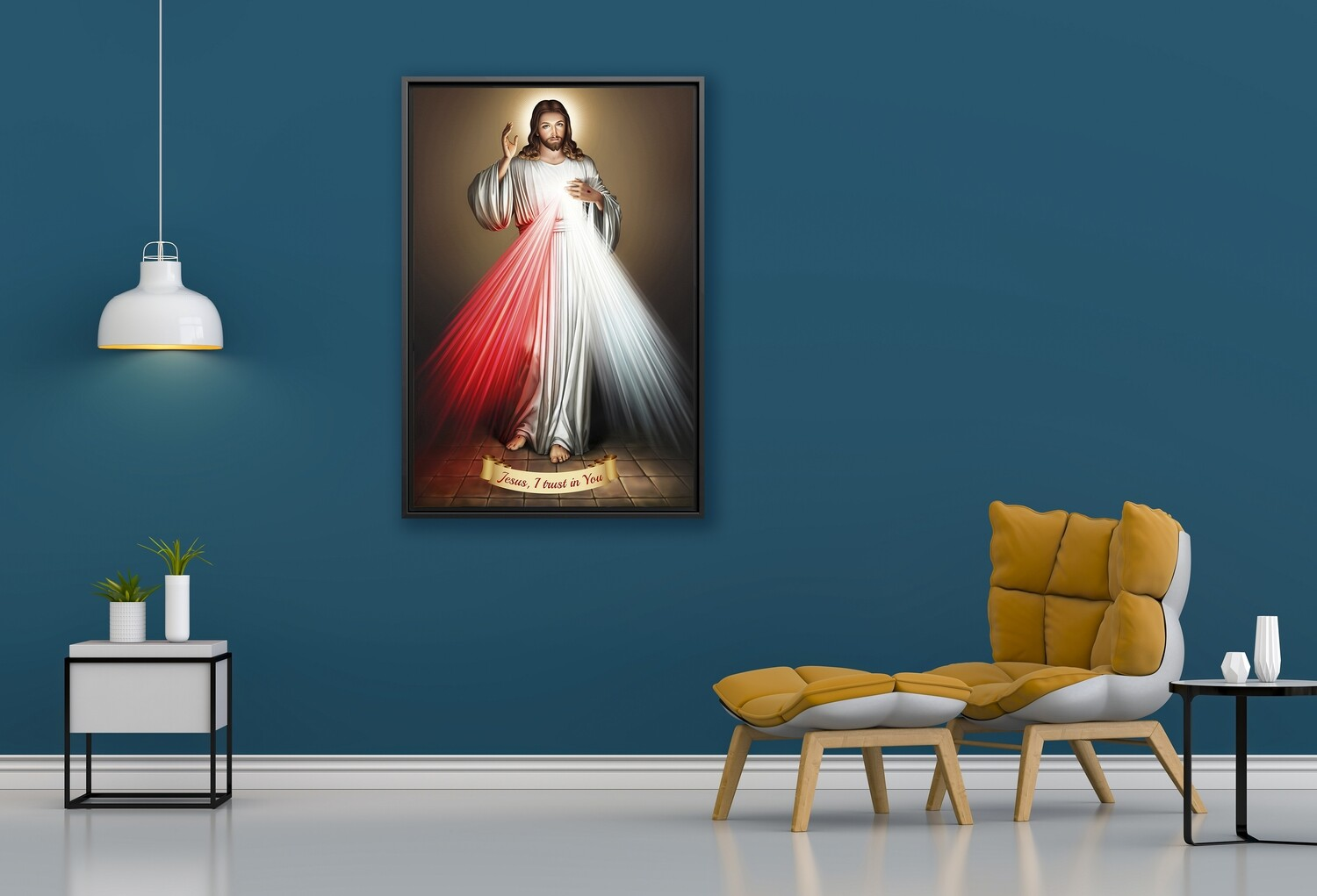 Divine Mercy Painting |Framed Christian Wallart |Jesus Divine Mercy Picture Printed on  Acrylic Glass |Framed and Ready To Hang