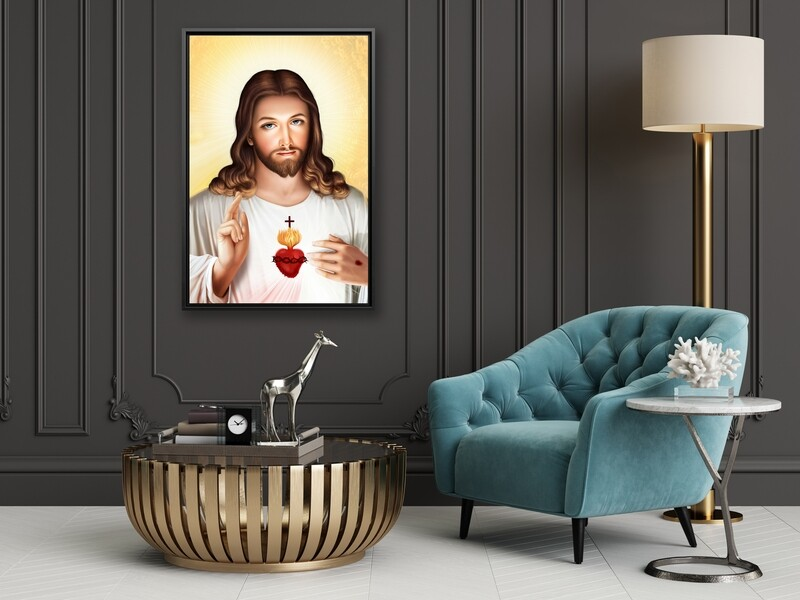 Sacred Heart Painting |Framed Christian Wallart |Jesus Sacred Heart Picture Printed on  Acrylic Glass |Framed and Ready To Hang