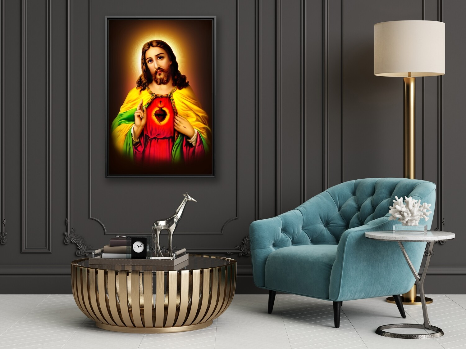 Jesus Christ Sacred Heart Painting |Framed Christian Wallart |Jesus Living Heart Picture Printed on  Acrylic Glass |Framed and Ready To Hang