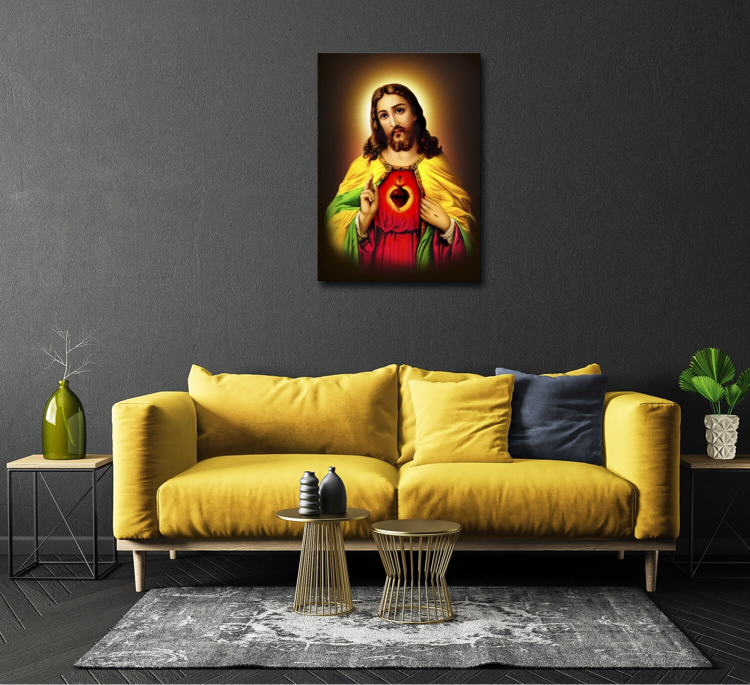 Jesus Sacred Heart Painting -Christian Wallart- The Sacred Heart Picture Printed on Frameless Acrylic Glass - Ready To Hang