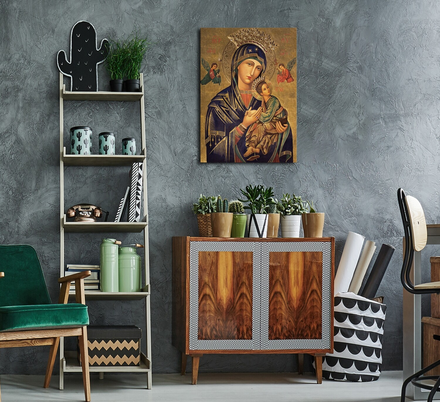 Mother Mary and Baby Jesus Painting|Frameless Christian Wallart |Virgin Mary Picture Printed on Acrylic Glass |Frameless and Ready To Hang