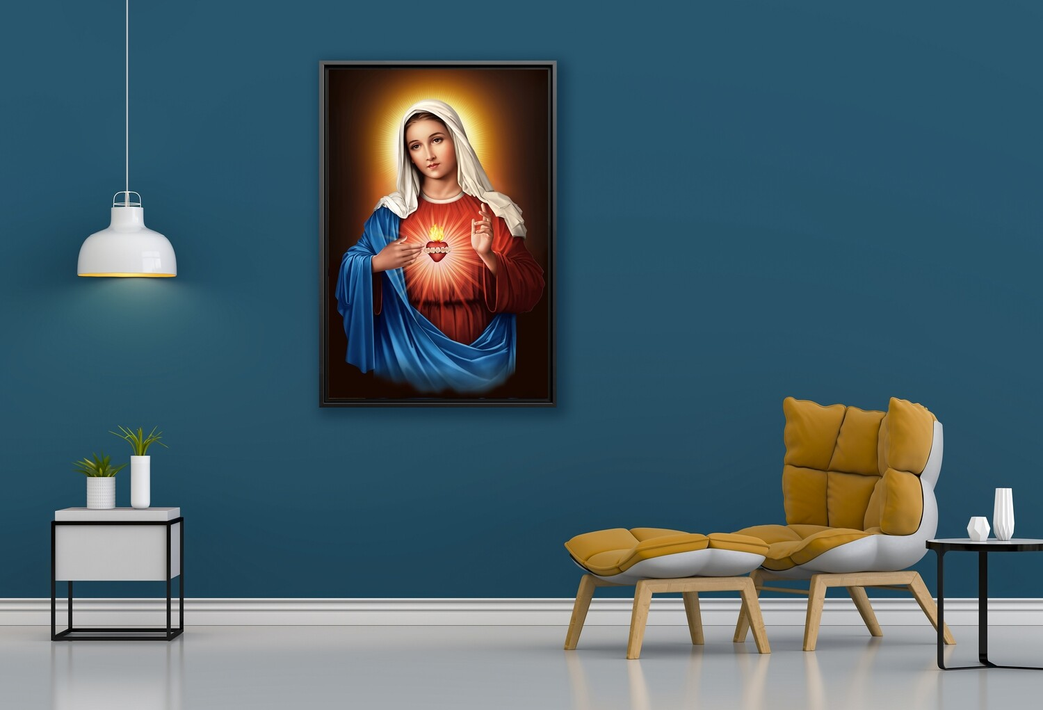 Virgin Mary Sacred Heart Painting |Framed Christian Wallart |Mother Mary Living Heart Picture Printed on  Acrylic Glass |Framed and Ready To Hang
