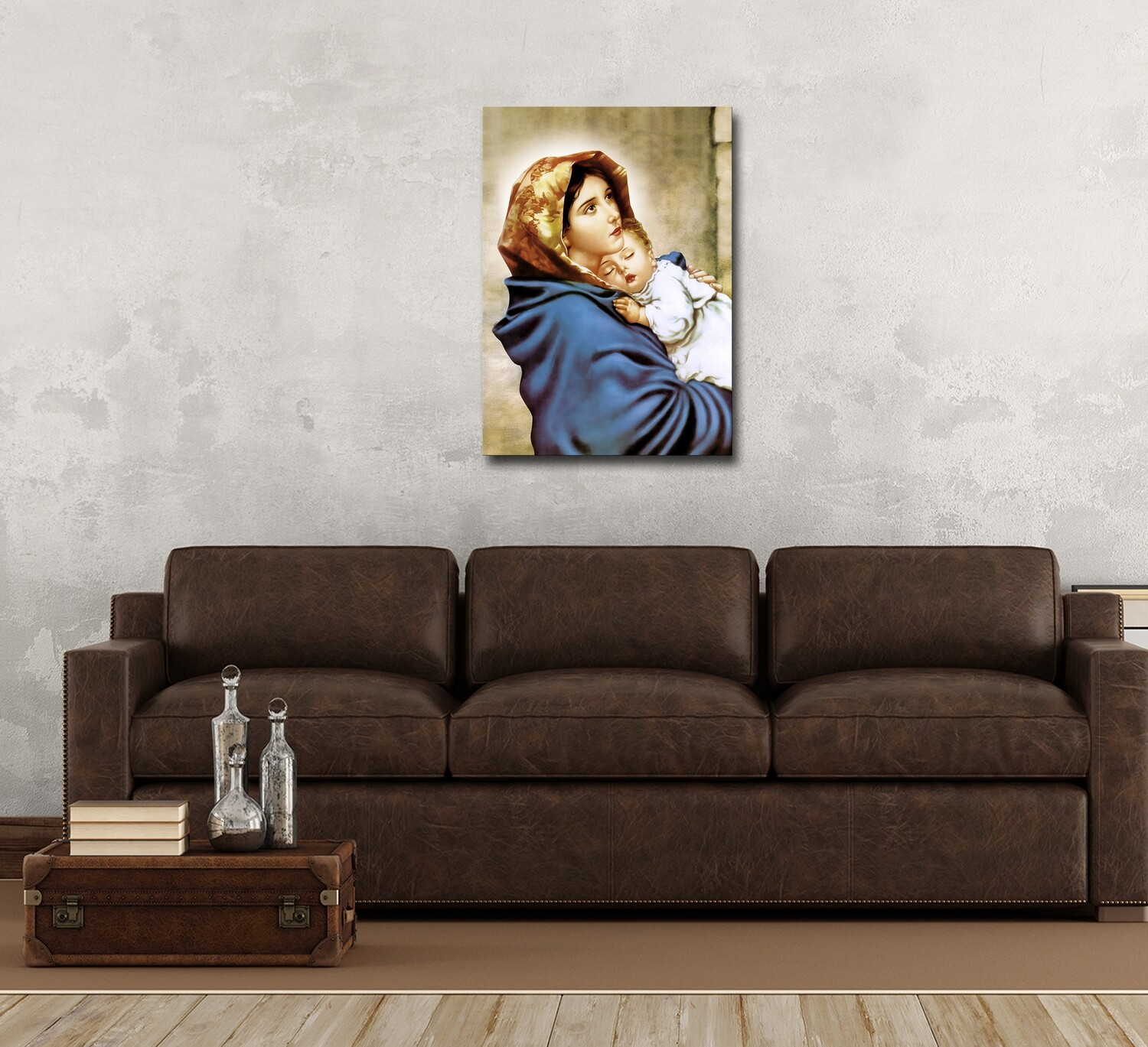 Virgin Mary and Baby Jesus Painting - Modern Frameless Christian Wallart -Mother Mary and Child Jesus Picture Printed on Acrylic Glass |Aluminium Float Frame and Ready To Hang
