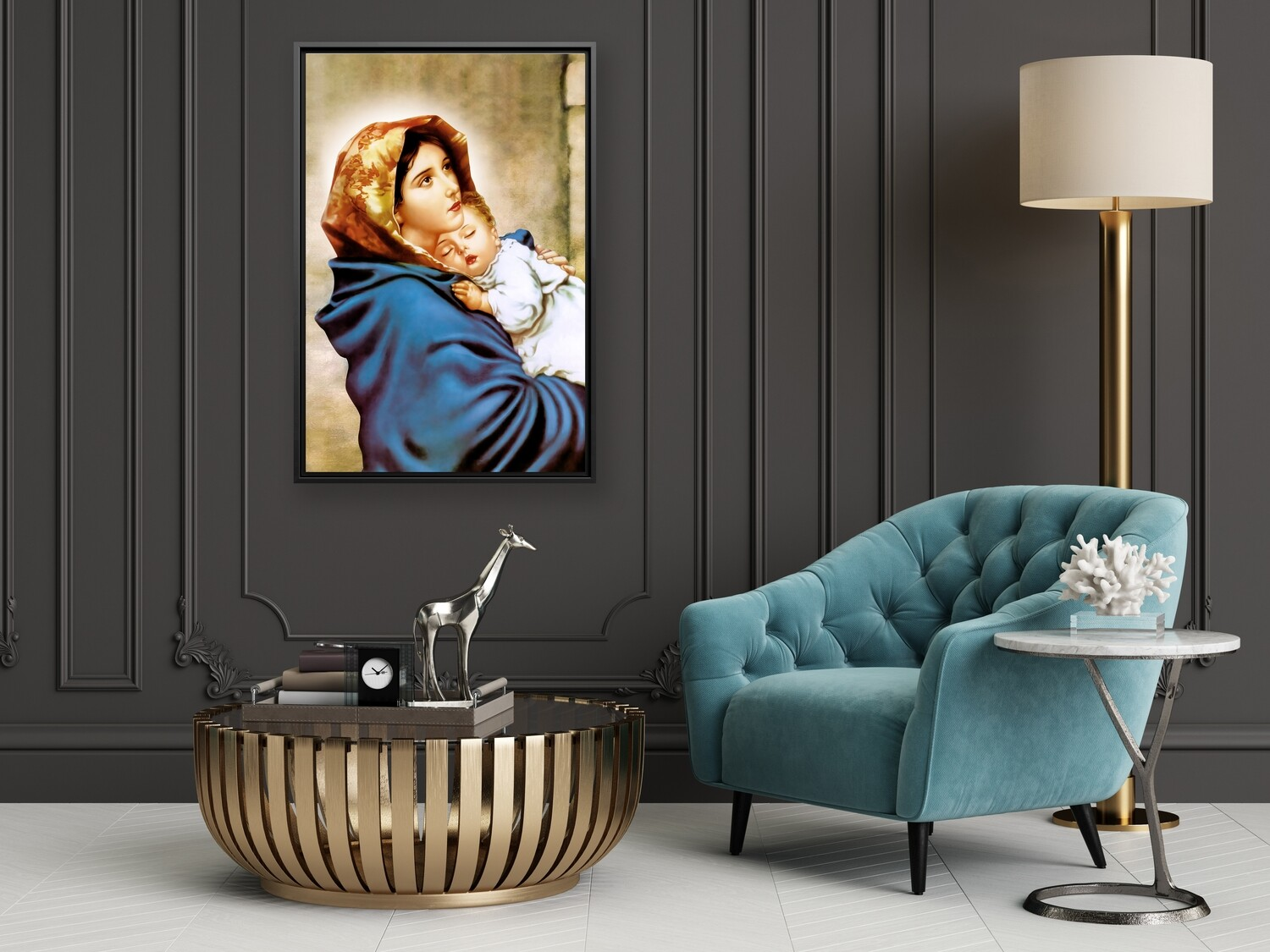 Virgin Mary Baby Jesus Painting |Framed Christian Wallart |Mother Mary and Baby Jesus Picture Printed on  Acrylic Glass |Framed and Ready To Hang