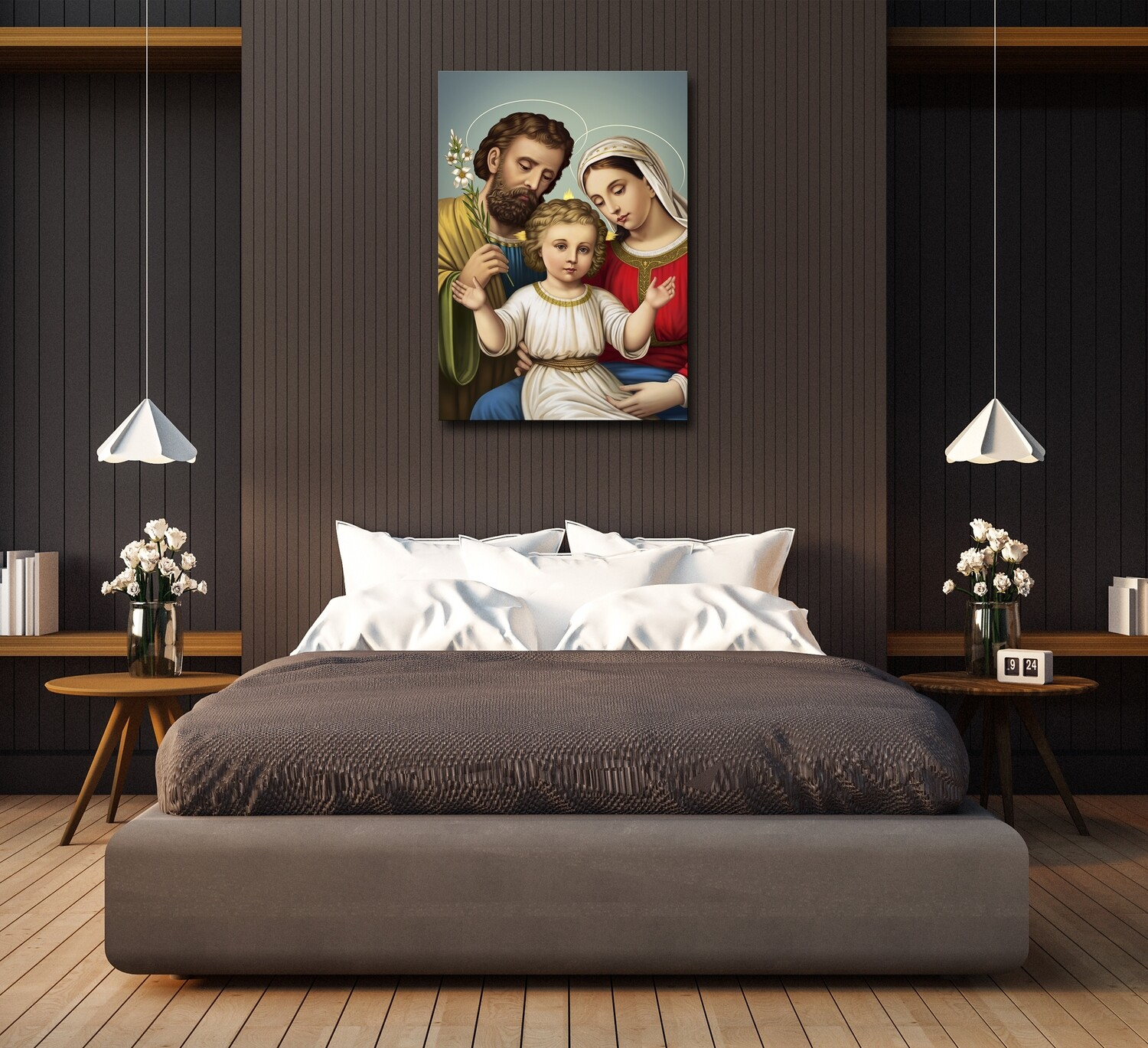 Holy Family Painting |Frameless Christian Wallart |Joseph Mary Jesus Picture Printed on Acrylic Glass |Aluminium Float Framed and Ready To Hang