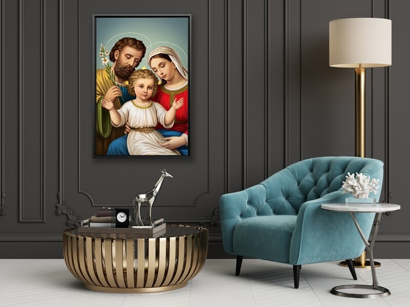 Holy Family Painting |Framed Christian Wallart |Joseph Mary Jesus Picture Printed on Acrylic Glass |Framed and Ready To Hang