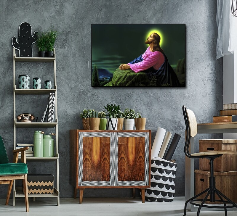 Jesus Prayer Painting |Framed Christian Wallart | Jesus Picture Printed on Acrylic Glass |Framed and Ready To Hang