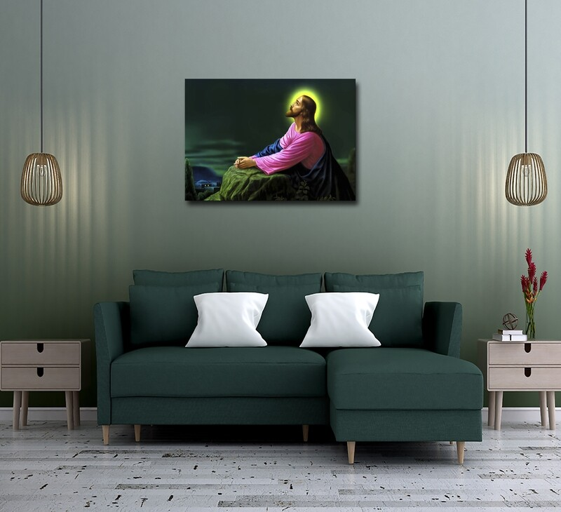Jesus Prayer Painting |Frameless Christian Wallart | Jesus Picture Printed on Acrylic Glass |Aluminium Float Framed and Ready To Hang