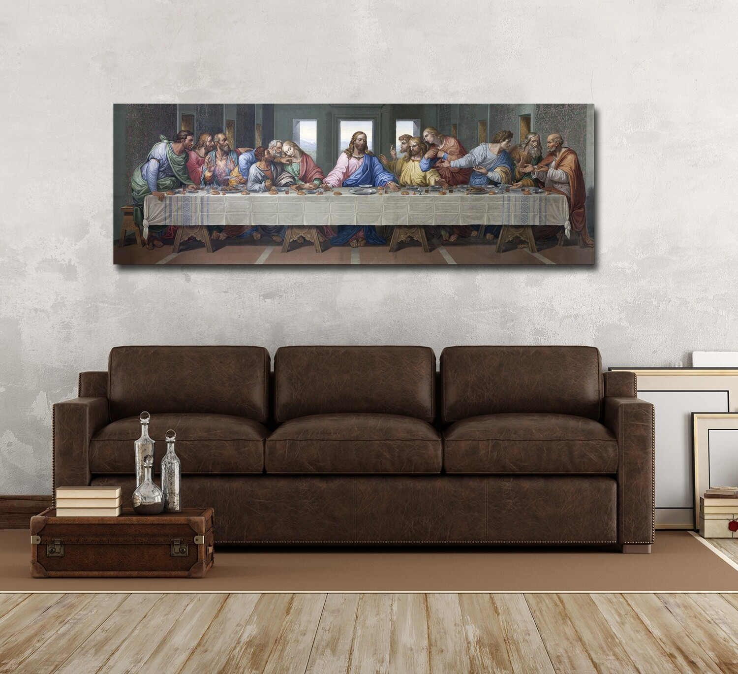 Jesus Last Supper Painting-Christian Wallart -Jesus Divine Mercy Picture Printed on Frameless Acrylic Glass -Ready To Hang