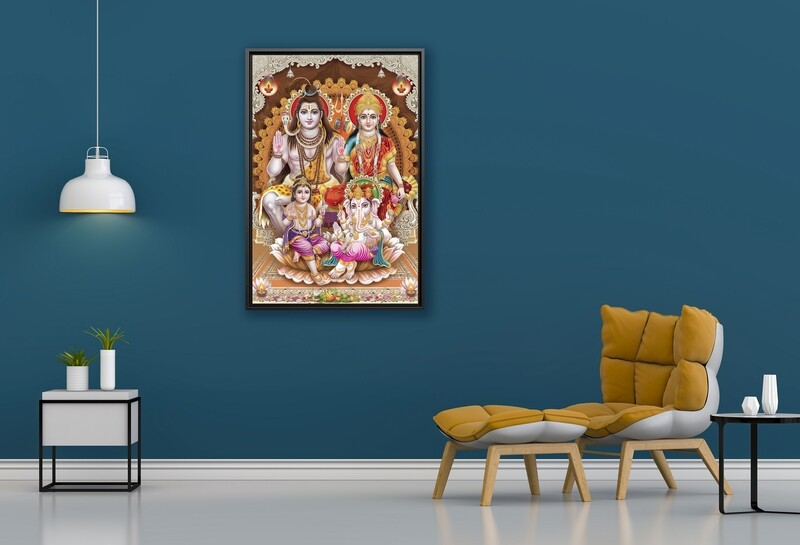 Shiva Parvathy Family Painting |Framed Hindu God Wallart |Shiva Parvathy Ganesha Muruka Picture Printed on  Acrylic Glass |Framed and Ready To Hang