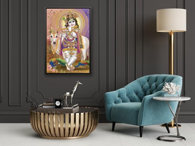 Krishna Painting |Framed Hindu God Wallart |Gopala Krishna Picture Printed on  Acrylic Glass |Framed and Ready To Hang