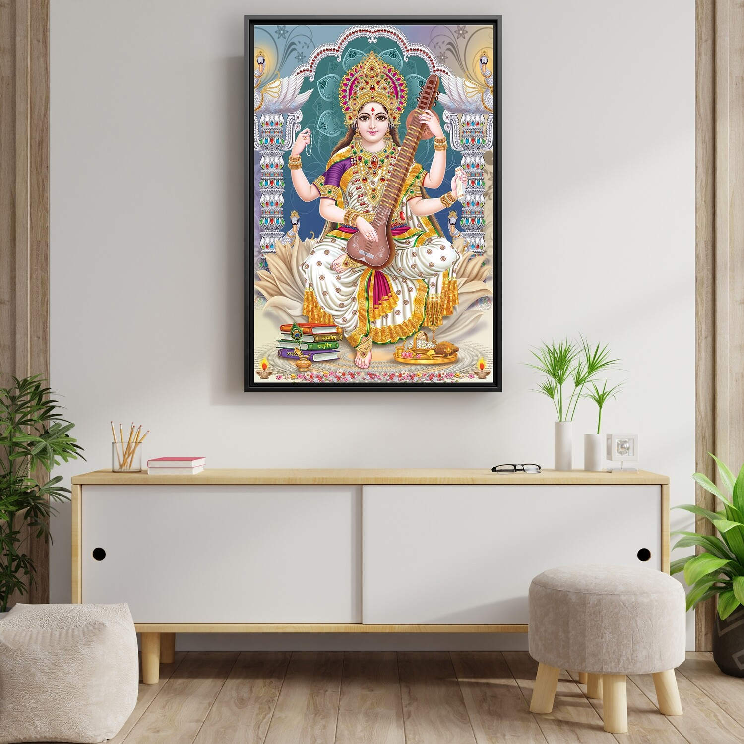 Saraswathy Devi Painting - Framed Hindu God Modern Wall art - Saraswathy Picture Printed on  Acrylic Glass - Framed and Ready To Hang