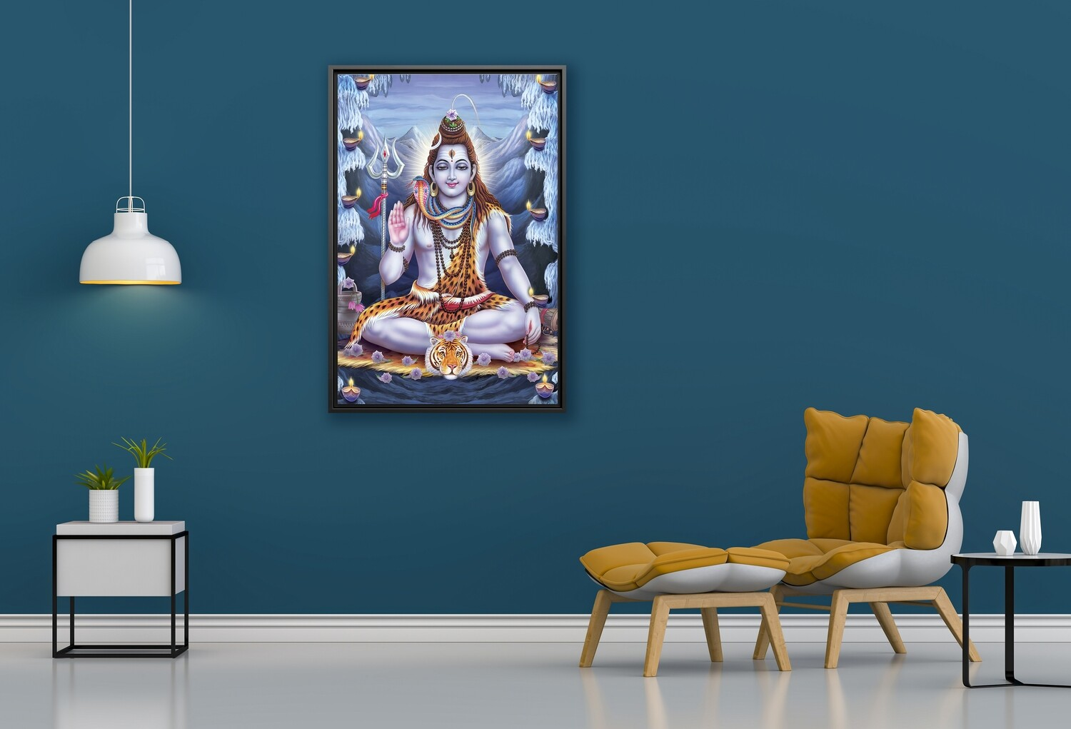 Shiva Painting - Framed Hindu God Modern Wall art - Shiva Picture Printed on  Acrylic Glass - Framed and Ready To Hang