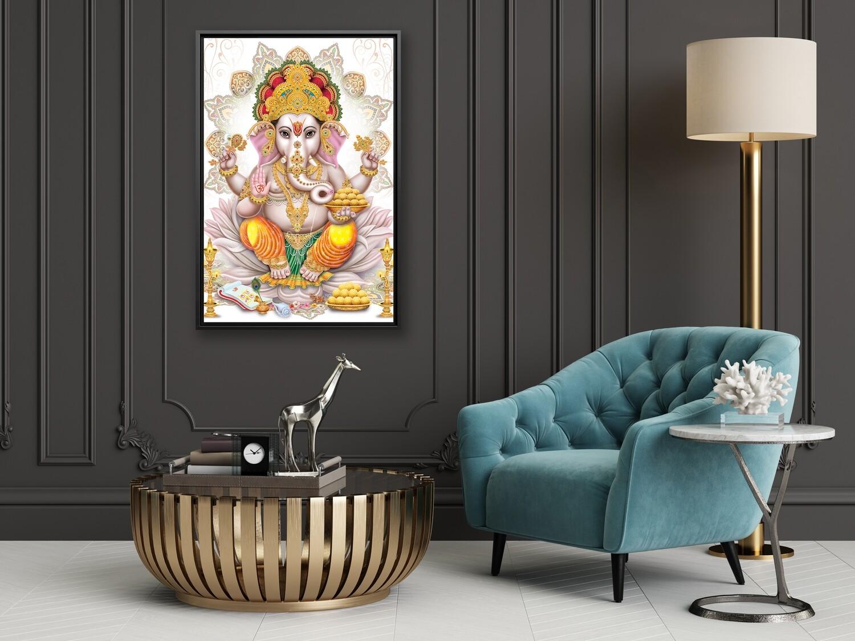 Ganesha Painting -Framed Hindu God Wallart -Ganesha Picture Printed on  Acrylic Glass -Framed and Ready To Hang
