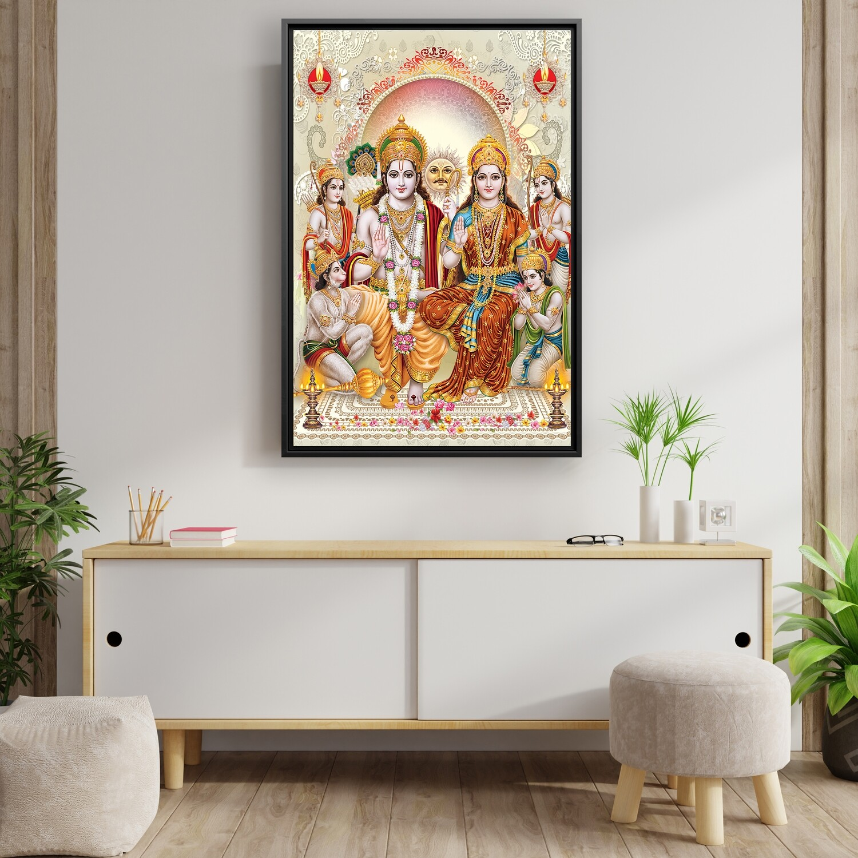 Rama Durbar Painting - Framed Hindu God Wallart - Rama Seetha Family Picture Printed on  Acrylic Glass - Framed and Ready To Hang