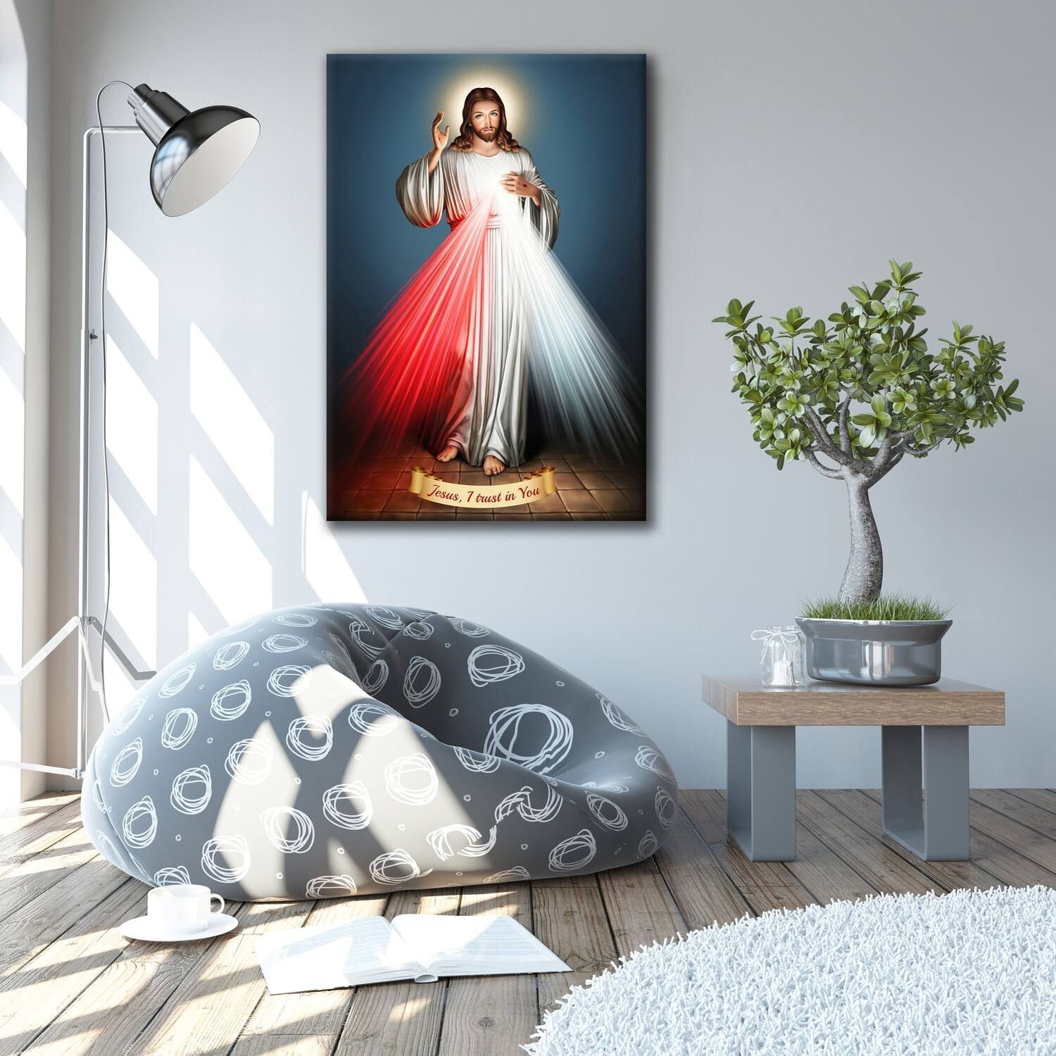 Divine Mercy Painting Blue -Christian Wallart -Jesus Divine Mercy Picture Printed on Frameless Acrylic Glass- Ready To Hang