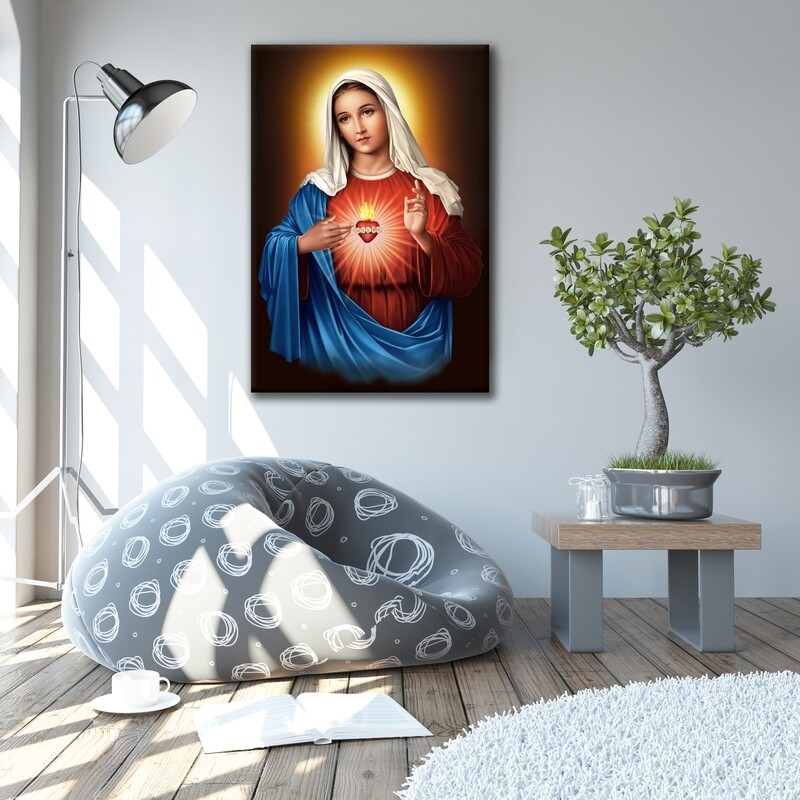 Virgin Mary Sacred Heart Painting |Frameless Christian Wallart |Mother Mary Living Heart Picture Printed on Acrylic Glass |Float Frame and Ready To Hang