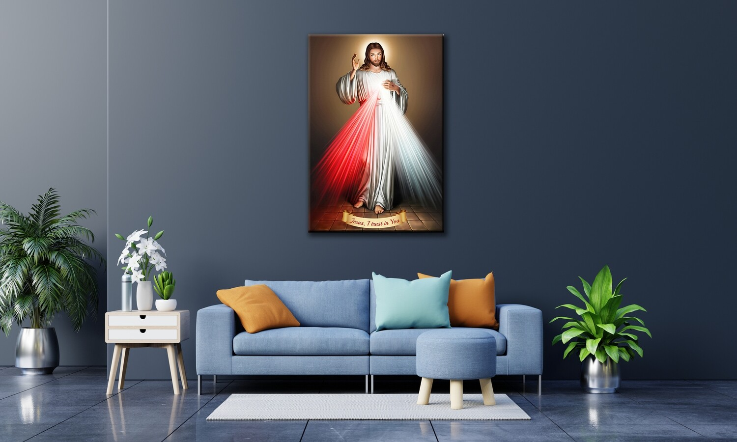 Divine Mercy Painting Brown -Christian Wallart -Jesus Divine Mercy Picture Printed on Frameless Acrylic Glass- Ready To Hang