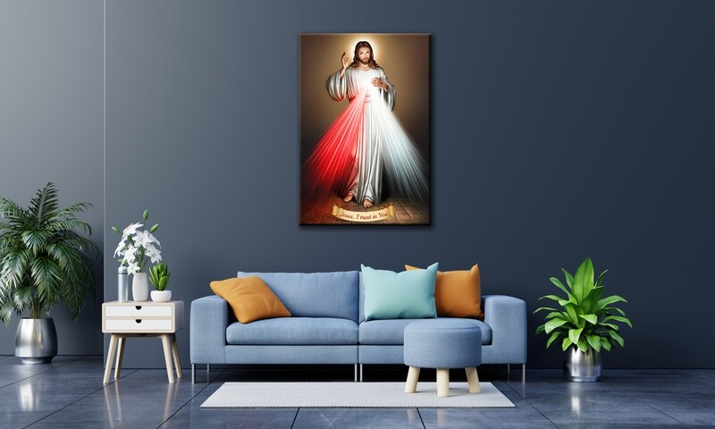 Divine Mercy Painting |Christian Wallart |Jesus Divine Mercy Picture Printed on Frameless Acrylic Glass | Ready To Hang
