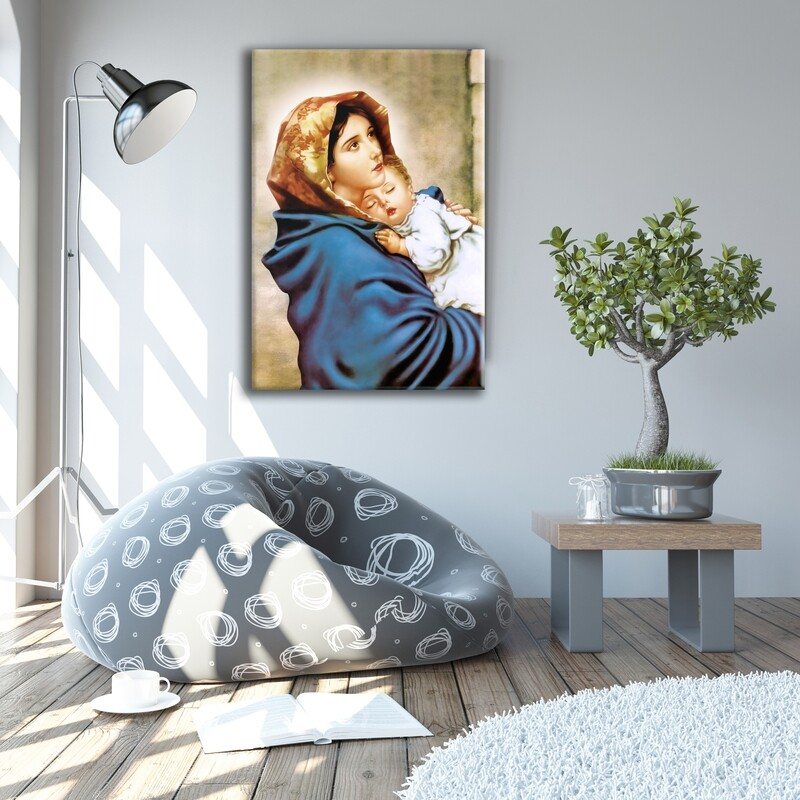 Virgin Mary and Baby Jesus Painting |Frameless Christian Wallart |Mother Mary and Child Jesus Picture Printed on Acrylic Glass |Aluminium Float Frame and Ready To Hang