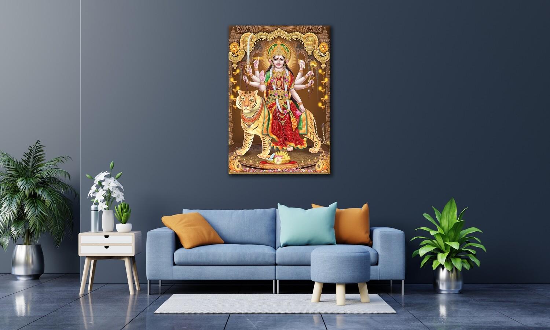 Durga Devi Painting -Hindu God Devi Durga Wallart-Ambaji Picture Printed on Frameless Acrylic Glass - Ready To Hang