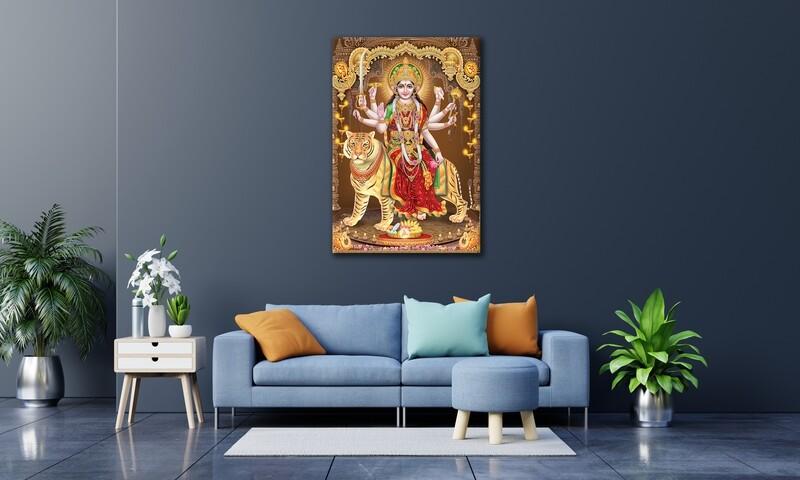 Durga Devi Painting |Hindu God Devi Durga Wallart |Ambaji Picture Printed on Frameless Acrylic Glass | Ready To Hang