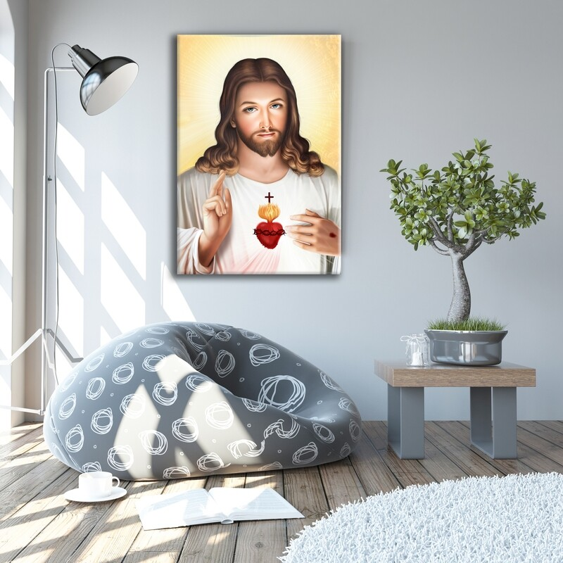 Jesus Sacred Heart Painting |Christian Wallart |Sacred HeartPicture Printed on Frameless Acrylic Glass | With Aluminium Backing Frame Ready To Hang