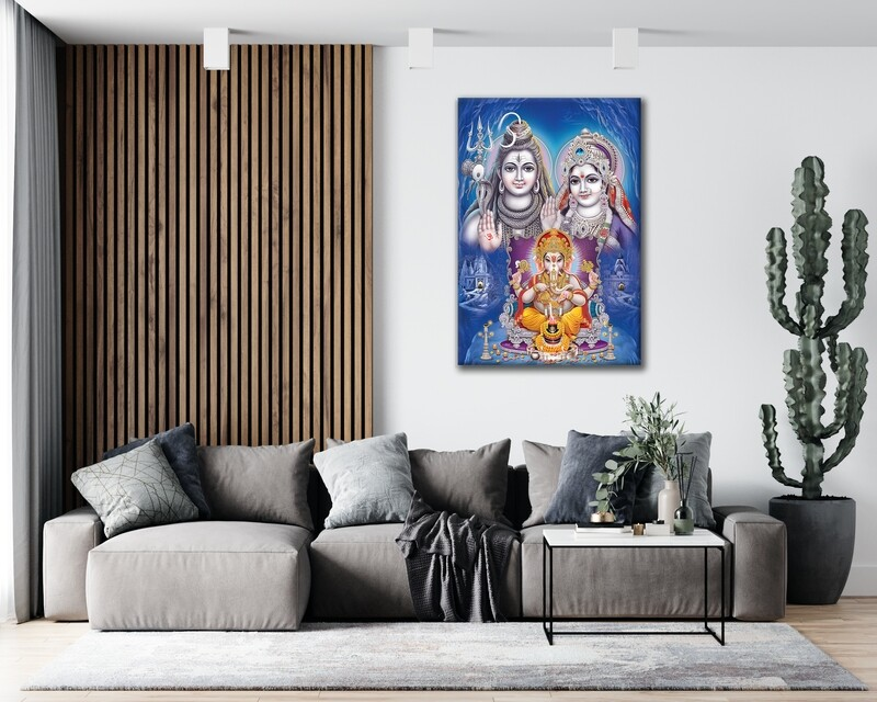 Shiva Parvathy Ganesha Painting |Hindu God Wallart |Shiva Family Picture Printed on Frameless Acrylic Glass | Ready To Hang