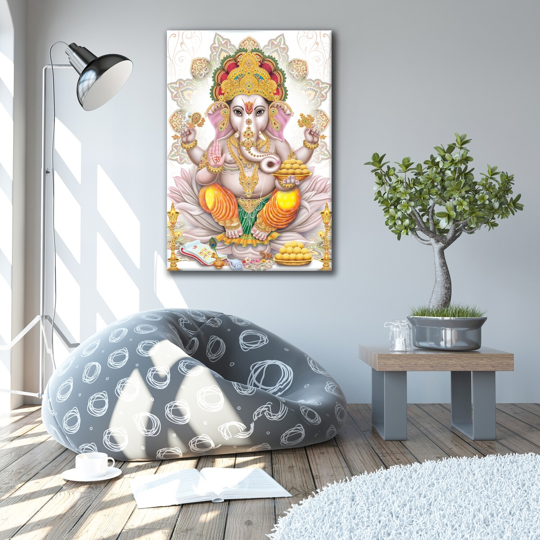 Ganesha Painting -Hindu God Ganapathi Wallart -Vinayaka Picture Printed on Frameless Acrylic Glass - Ready To Hang