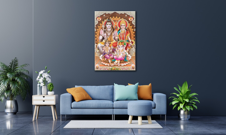 Shiva Family Painting - Hindu God Modern Wall art - Shiva Parvathy Ganesha Muruka Picture Printed on Frameless Acrylic Glass
