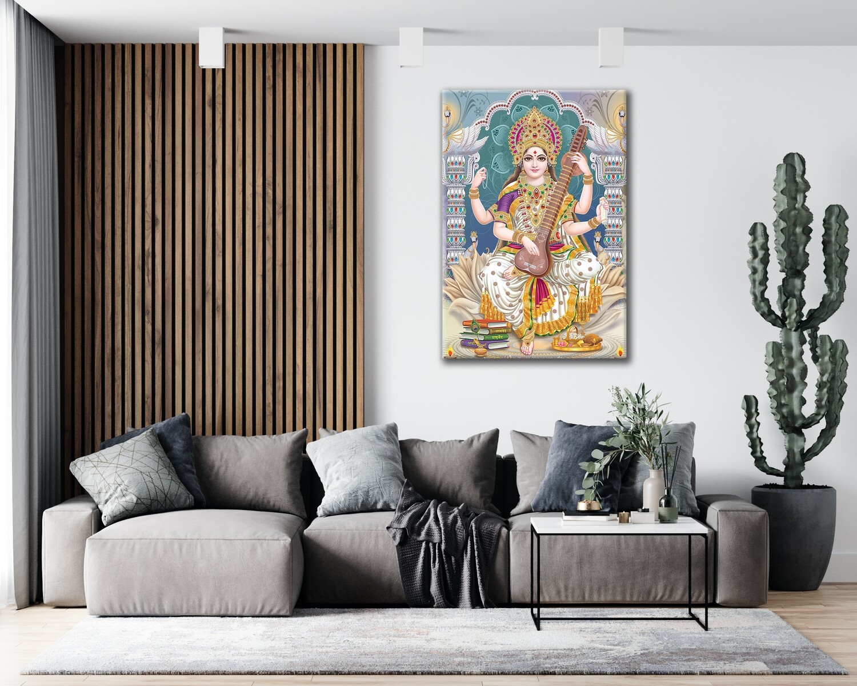 Saraswathy Devi Painting - Hindu God Modern Wall art - Saraswathy Picture Printed on Frameless Acrylic Glass - Ready To Hang
