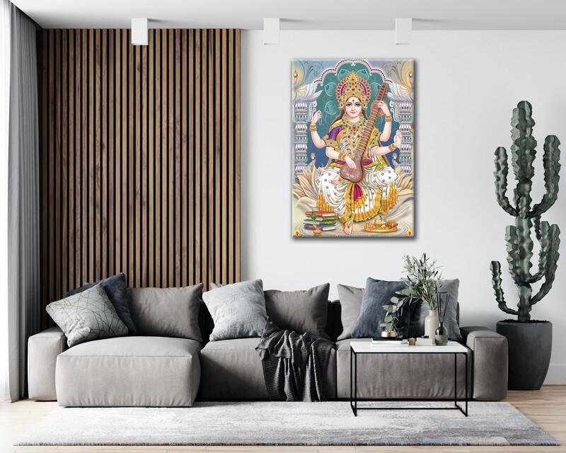 Saraswathy Devi Painting |Hindu God Balagopala Wallart |Saraswathy Picture Printed on Frameless Acrylic Glass | Ready To Hang