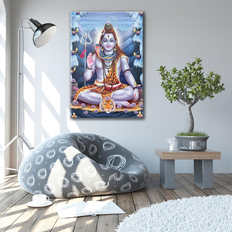 Lord Shiva Painting -Hindu God Wallart -|Kailasa shiva Picture Printed on Frameless Acrylic Glass - Ready To Hang