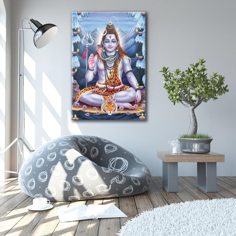 Lord Shiva Painting |Hindu God Wallart |Kailasa shiva Picture Printed on Frameless Acrylic Glass | Ready To Hang