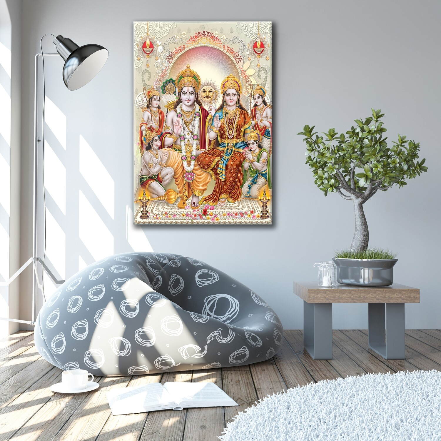 Rama Durbar Painting |Hindu God Balagopala Wallart |Rama Seetha Family Picture Printed on Frameless Acrylic Glass | Ready To Hang