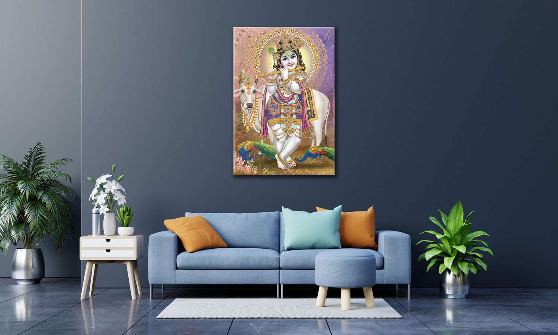 Gopala Krishna Painting-Hindu God Balagopala Wallart -Krishna Picture Printed on Frameless Acrylic Glass - Ready To Hang