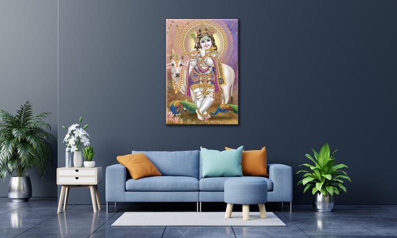 Gopala Krishna Painting |Hindu God Balagopala Wallart |Krishna Picture Printed on Frameless Acrylic Glass | Ready To Hang