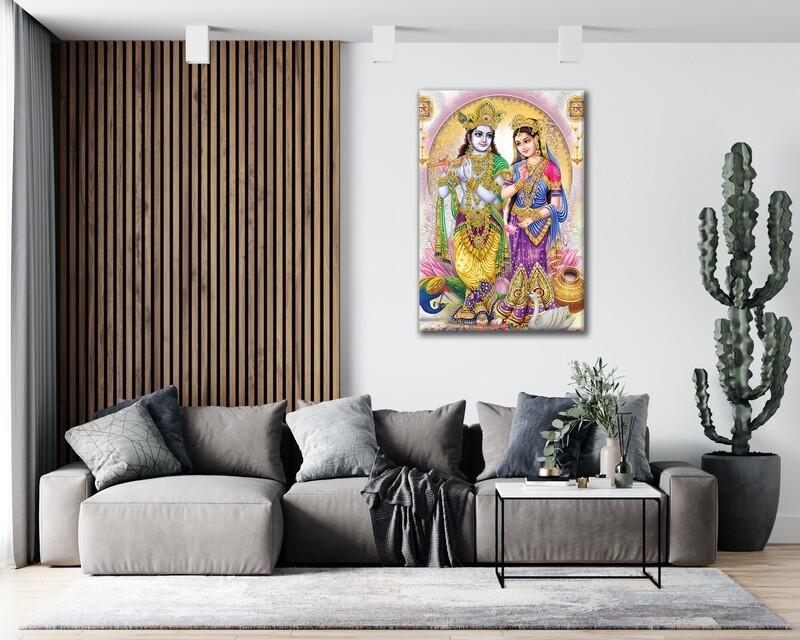 Radha Krishna Painting |Hindu God Wallart |Krishna Radha Family Picture Printed on Frameless Acrylic Glass | Ready To Hang