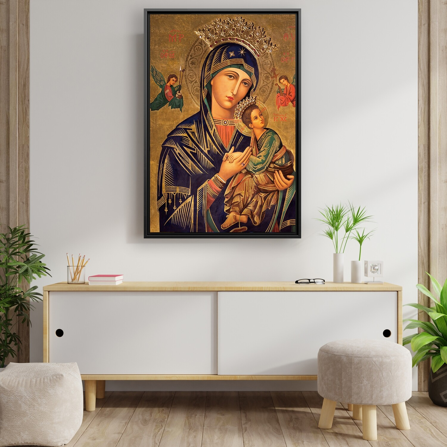 Mother Mary and Baby Jesus Painting - Framed Christian Wallart - Virgin Mary Picture Printed on Acrylic Glass - Framed and Ready To Hang