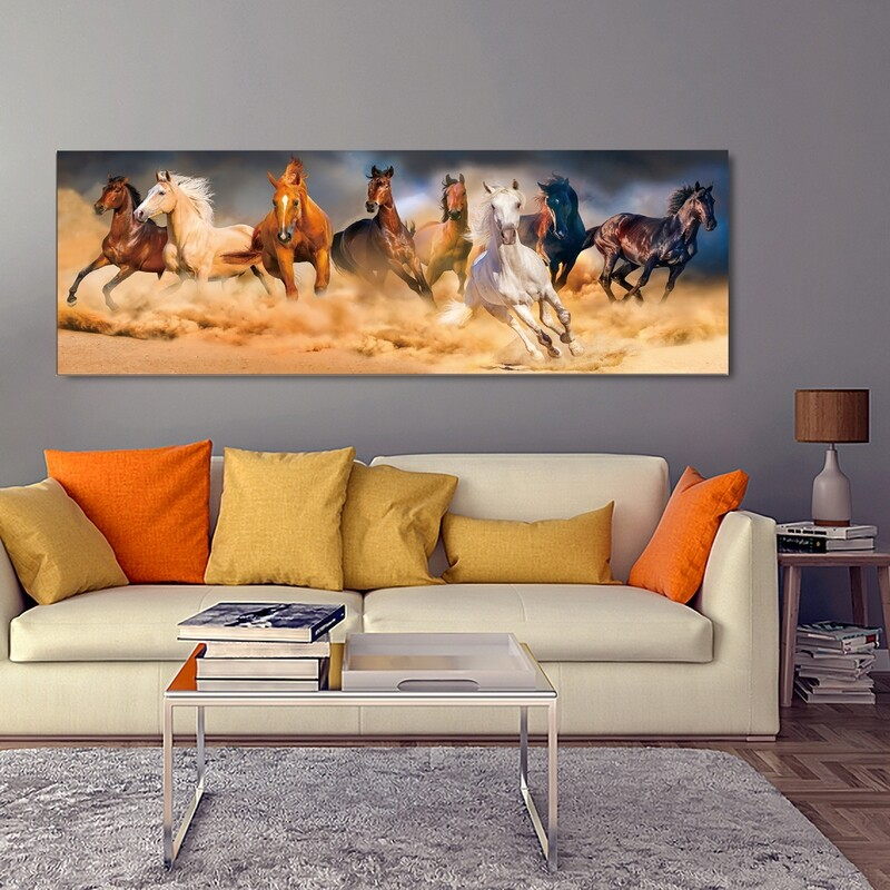 Desert Storm Horse Run | Frameless Painting Printed on Acrylic Glass | With Aluminium Backing Frame Ready to Hang