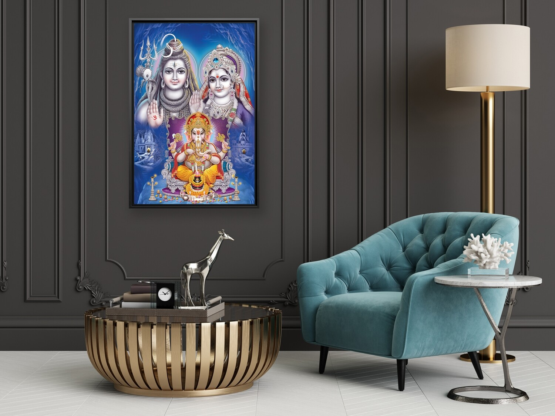 Shiva Parvathy Ganesha Family Painting -Framed Hindu God Wallart -Ganesha Picture Printed on  Acrylic Glass -Framed and Ready To Hang