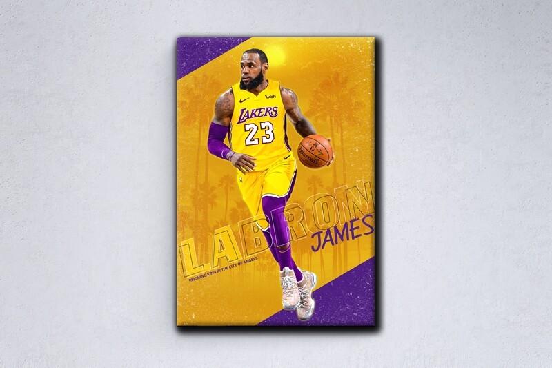 Lakers LeBron James Painting -Sports Wallart -L.A lakers LeBron James Picture Printed on Frameless Acrylic Glass- Ready To Hang