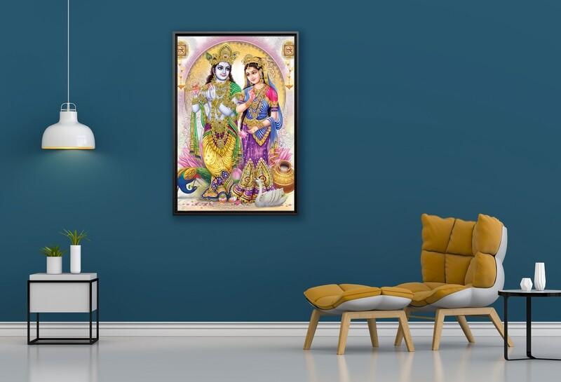 Radha Krishna Painting -Framed Hindu God Wallart -Krishna Radha Picture Printed on  Acrylic Glass -Framed and Ready To Hang